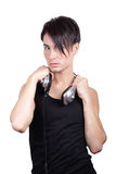 Lyssnande musik för ung man Royaltyfri Foto