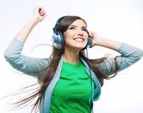 lyssnande musikkvinnabarn Lätt att ta bort inskriften: Vänd upp musiken Fotografering för Bildbyråer