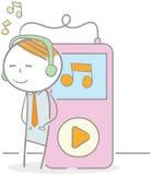 Lyssnande musikspelare Royaltyfria Bilder