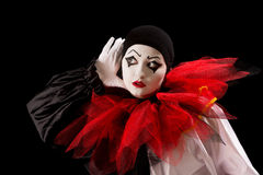 Lyssnande Pierrot Arkivbilder