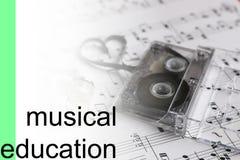 Lyssnar bakgrund för kursmusikanmärkningar Arkivfoto