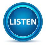 Lyssnar den blåa runda knappen för ögongloben stock illustrationer