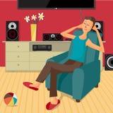 Lyssnar den moderna plana designmannen för vektorn till musik hemma Arkivfoton