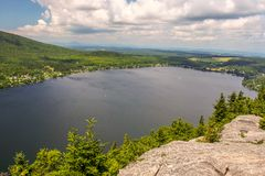 Lyster Lake in Eastern Townships, Canada. Cherry on the sundae with this view on Lyster Lake from Pinacle Mountain trail, province of Quebec, Canada royalty free stock image
