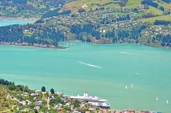 Lyttelton空中风景视图在克赖斯特切奇,新西兰附近的 图库摄影