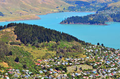 Lyttelton Christchurch - New Zealand. Aerial landscape view of Lyttelton inner harbour and township near Christchurch, New Zealand stock images