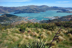 Lyttelton Christchurch - New Zealand. Aerial landscape view of Lyttelton inner harbour and township near Christchurch, New Zealand Royalty Free Stock Images