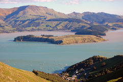 Lyttelton harbor hill view Royalty Free Stock Images