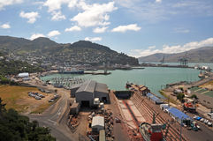 Lyttleton Dry Dock, Christchurch New Zealand. Lyttleton is the port of of Christchurch. In the foreground are the dry dock and yacht marina. In the background is Stock Images