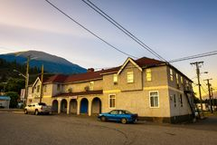 Lytton Hotel at sunrise. LYTTON, CANADA - JULY 2, 2017 : Lytton Hotel at sunrise. Lytton is situated in British Columbia at the confluence of the Thompson River Stock Photos