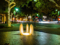 Lytton Plaza Fountain. Night view of Lytton Plaza Fountain in Palo Alto, CA Stock Images