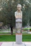 Lyubertsy Ryssland En monument till mannen och hjälten på ingången till parkera Arkivbild