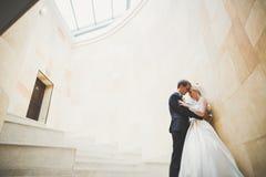 Lyx att gifta sig brölloppar, brud och brudgum som poserar i gammal stad Royaltyfria Bilder
