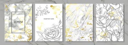 Lyx cards samlingen med guld- textur för marmor och hand-drog blommor Moderiktig bakgrund för vektor Modern uppsättning av stock illustrationer