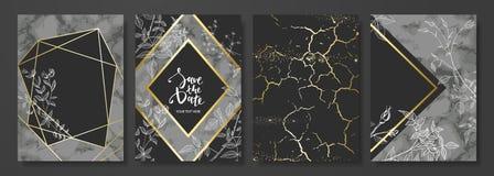 Lyx cards samlingen med marmortextur, hand-drog blommor och guld- geometrisk form Moderiktig bakgrund för vektor vektor illustrationer