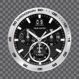 Lyx för framsida för chronograph för silverklockaklocka på grå rutig bakgrundsvektor royaltyfri illustrationer
