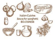 lyx för livsstil för utmärkt mat för carpacciokokkonst italiensk Sause för spahettien bolognese vektor illustrationer