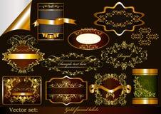 Lyx guld-inramninga etiketter Royaltyfri Illustrationer
