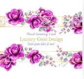 Lyx steg vektorn för blommavattenfärgkortet Guld- abstrakt begrepp inramar dekorbanret Kungliga bröllopbukettillustrationer vektor illustrationer