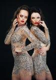 Lyx. Två sexiga glamorösa kvinnor i skinande klänningar Royaltyfria Bilder