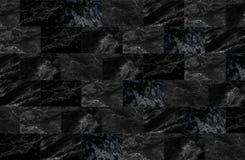 Lyxen av svarta marmortegelplattor textur och bakgrund Arkivbild