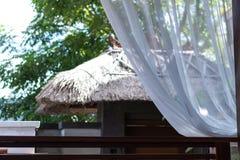Lyxhem, uteplats, tropisk villasemesterort på den Bali ön, Indonesien arkivbilder