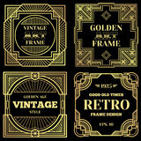 Lyxig affischvektordesign med guld- ramar i gammal klassisk stil för art déco stock illustrationer