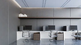 Lyxig arbetsområde med den svarta tolkningen vägg/3D Royaltyfri Bild