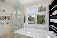 Lyxig badruminre med stort gå-i dusch Royaltyfri Foto