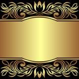 Lyxig bakgrund dekorerade de guld- kungliga gränserna - inbjudandesign Royaltyfri Bild
