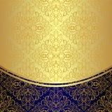 Lyxig bakgrund dekorerade den guld- blom- modellen Arkivbild