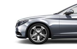 Lyxig bil för silver som isoleras på vit Royaltyfri Fotografi