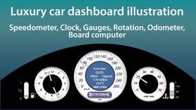 Lyxig bilinstrumentbrädaillustration - mått, hastighetsmätare, klocka, temperatur, gasnivå, vägmätareindikatorer, lägenhetdesign, vektor illustrationer