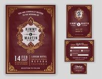 Lyxig bröllopinbjudan för tappning på svart tavlabakgrund vektor illustrationer