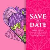 Lyxig bröllopinbjudan för vektor med mandalaen Royaltyfri Bild
