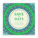 Lyxig bröllopinbjudan för vektor med mandalaen Fotografering för Bildbyråer