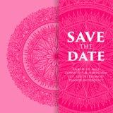 Lyxig bröllopinbjudan för vektor med mandalaen Royaltyfria Bilder