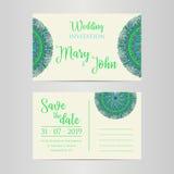 Lyxig bröllopinbjudan för vektor med mandalaen Royaltyfria Foton
