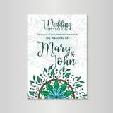 Lyxig bröllopinbjudan för vektor med mandalamalltappning Arkivfoton