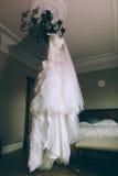 Lyxig bröllopsklänning Arkivbild