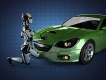 Lyxig brandless sportbil och kvinnarobot Arkivbilder