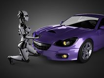 Lyxig brandless sportbil och kvinnarobot Arkivfoton