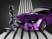 Lyxig brandless sportbil och kvinnarobot Royaltyfria Bilder