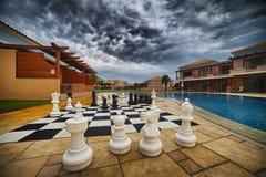 Lyxig brunnsort Hotell i Grekland Royaltyfri Fotografi