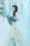 Lyxig dam i en vit klänning arkivfoton