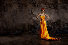 Lyxig dam i siden- klänning royaltyfria foton