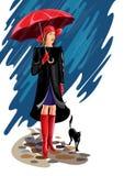 Lyxig dam med katten - illustration Royaltyfri Foto