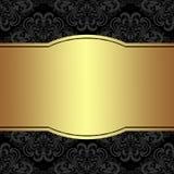 Lyxig damast bakgrund med den guld- ramen upplysningsvis Arkivfoton