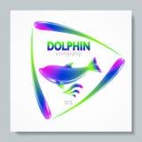 Lyxig delfin för bildlogoregnbåge Att att planlägga vykort broschyrer, baner, logoer, idérika projekt Arkivfoton