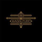 Lyxig etnisk Art Deco Monochrome Gold Flourishes för tappning monogram Dekorativt emblem Malllogo Santa Claus med påsen av gåvorn royaltyfri illustrationer